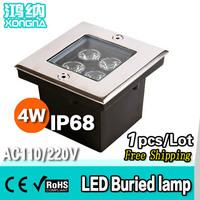 Free Shipping, AC85~265V, High Power LED 4W Underground Lights Waterproof IP68 Outdoor 4W led Underground Lamp