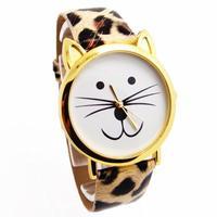 New Arrival Wholesale Cute Cat Design Pu Leather Watch Children Women Dress Quartz Wristwatches GO120