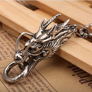 Men's Jewellery  Titanium Steel Necklace  316L Stainless Steel   Vintage Style  Dragon Pendant  Wholesale  Free shipping