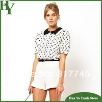 T-083 Free Shipping 2013 Summer New Women Peter Pan Collar College Short Sleeve Chiffon Shirt Blouse