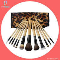 Hot Professional Cosmetic Tools 12 Pcs Makeup Brush Set w/ Leopard Print Bag