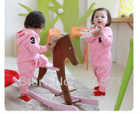 Freeshipping(3piece/lot), Baby Romper Infant Romper Polo Long Sleeve Jumpsuit With Hat Hoodie 2colors Baby Girl Boy Clothing