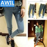 Free shipping 2014 autumn korea style women's Jeans thin pencil jeans feet jeans women skinny jeans for women
