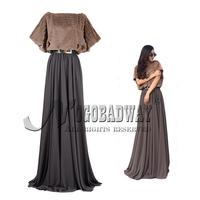 2015 new spring long casual dress women plus size chiffon faux fur patchwork maxi vestidos floor-length elastic waist dresses