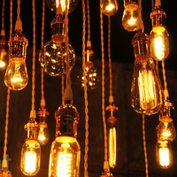 Free shipping vintage Edison silk light bulb E26/E27 110v/220v electrical wire with base bar coffee american style pendant light