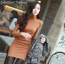 Frete grátis ! 2014 Quente moda sexy mulheres moda inverno colar dressTight slim gola roupas baratas china(China (Mainland))