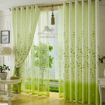 Free Shipping Customize green window curtain Fabric Cloth cheap curtain Half Shading Christmas Kitchen Curtains
