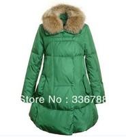2013 Winter Women Big Size Fur Collar Skirt-hem Long Down Jacket