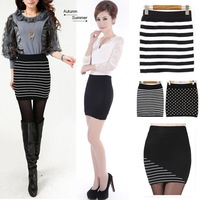 2014 Autumn Ladies Sexy Thick knitted Short Skirt New Kintting Women's Black White Striped Polka Dot Mini Skirts,Wholesale DL13C