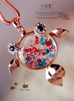 2013 women New Crystal cute gold  fish necklace  Accessories Sweater chain necklace jewelry Christmas gift