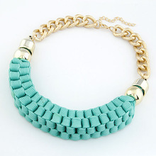 2013 New Arrival Fashion Jewelry Handmade Gold Cord Knit Ribbon Bib Statement Choker Necklaces & Pendants for Women Mixed Colors
