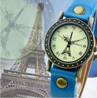 Fashion Eiffel Tower Surface Men/Women's Wristwatches Dress Quartz Leather Strap Retro Vogue Promotion Price Watch High Quality