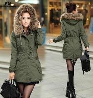 Fleece Outerwear Coats Warm Faux Fur Winter Fall 2013 Women Designer Thickening Coat Hoodied Parka Plus size XXXL AW13J022