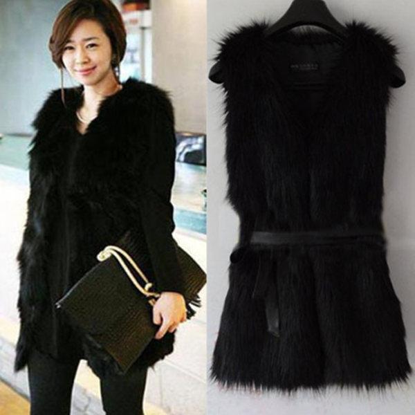 2014 Winter Fashion Waistcoat for Women Fake Fur Vest raccoon Sleeveless Coat With V-Collar Long Waistcoat Jacket Outwear nz150(China (Mainland))
