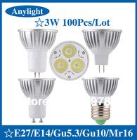 100 pcs/lot 3W E27/E14/Gu5.3/Gu10/Mr16 85-265V CE Warm/Pure/Cold/WhiteHigh Power LED Lamp/Spot lighting WSP09