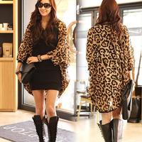 2014 new European and American big bat sleeve leopard print chiffon long sleeve loose cardigan long section #1560