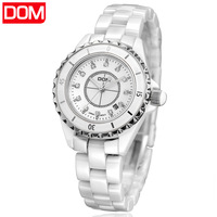 New 2013 fashion trend Dom women's dress watch ladies ceramic 200m waterproof  noctilucent calendar casual quartz watch