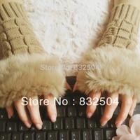 Free shipping women's knitting wool women long glove rabbit fur hair gloves & mittens