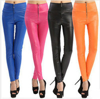 2014 new arrival winter leggings solid casual high waist skinny faux leather trends zipper front gym sport pants fitness leggins