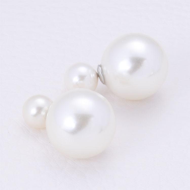 Hot Selling Paragraph Earrings Double Side Shining Pearl Stud Earrings Big Pearl Earrings For Women jewelry