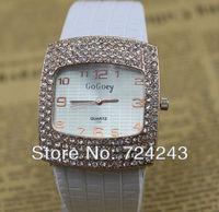 2013 Hot Sale Fashion wristwatch Women Dress Watch With Shinning Crystal Leather Quartz Watches Luxury Watches