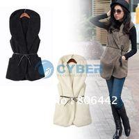 2013 New Style Hot Sale Women Lady Casual Elegant Hoodies Fur Vest Coat Jacket  fur vests faux fur women 5-colors girl diess