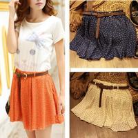 4 Colors Pleated Floral Chiffon Women Ladies Cute Mini Skirt Belt Include