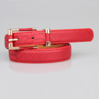 4624 Min order $10 (mix order) free shipping ladies slender belt female thin all-match belt with red coffee pink three colors