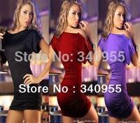 New 2014  Autumn -Summer Sexy & Club Womens  Neck Shoulder Zipper Short Sleeve Top Mini Sheath Party Clubwear Dress