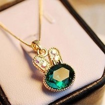 10 mix order Free Shipping New Fashion Cute Beautiful Rabbit Crystal Necklace Chain Green N196