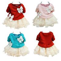 autumn new fashion knitting baby girl lace flower princess dresses