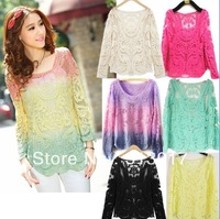 S-XL Womens Gradient Colors Sheer Embroidery Floral Lace Crochet Long Sleeve top blouse lace shirts #BK888
