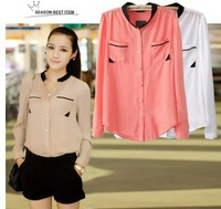 2014 Chiffon shirt female color block V-collar long-sleeve shirt blusas femininas Women Blouses NY042