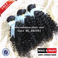 Free Shipping Mike & Mary  Malaysian Kinky Curly Hair 3pcs Lot Natural Color 1b 5a Grade Unprocessed Malaysian Virgin Hair