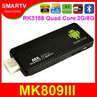 MK809III Android TV Box Quad Core RK3188 1.8Ghz 2G/8G Mini PCs TV Sticks Media Player Miracast Bluetooth XBMC MK808 MK809 III