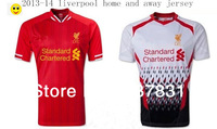 TOP Thai Quality Liverpool Soccer Jersey 13-14 EPL Liverpool FC Home or away COUTINHO GERRARD  SUAREZ STURRIDGE Uniform shirt
