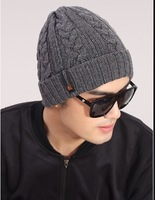 Korean hot men's new classic winter warm wool knit hat outdoor recreation fashion head cap sleeve beanies Free Shipping,MZ0200