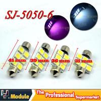 100X C5W 5050 6 LED 31mm/36mm/39mm/41mm Festoon Dome LED Light Bulbs 6 SMD Car Door Light Dome Light Roof Light Mix Size #YNK07