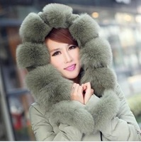 2013 New Women's Down Jacket Women Vlsivery Large Raccoon Fur Thickening Medium-long Winter Jacket Coat Plus Size M-XXL 4 Colors
