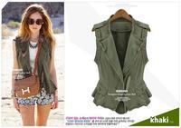 New 2013 Women Vest Female Clothing Coat Army Green Sashes Sleeveless Rivet Cotton Pockets Fashion Epaulet Cardigan Green S~XXL