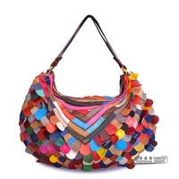 Genuine leather Patchwork colors Hand bag Shoulder bag,Lady Handbag sheepskin big bag 1681