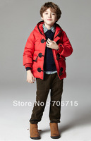 Retail Free shipping Winter hot sale boy oxhorn buttons down jacket,kids down coat,kids down jacket