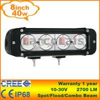 "8"" inch 40W Cree LED Light Bar for Work Lamp Tractor Boat Off Road 4WD 4x4 Truck Trailer SUV ATV Motorcycle IP68 12v 24v"