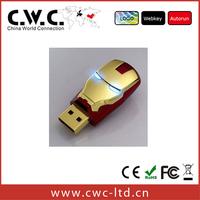 Wholesale Hot sale high quality Avengers Iron Man LED Flash 16gb metal usb flash drive Stick