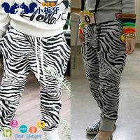 2013 Autumn Children's Clothing Male Female Child Zebra Print Harem Casual Pants Long Trousers