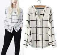 Blusas Femininas 2015 Women Shirts Vintage Plaid Print OL Blouses Long-Sleeve Stand Collar Ladies' Casual Shirt Retro Brand Tops