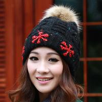 Korean fashion winter wool hat rabbit fur ball snow flowers knitted hat ear warm hat free shipping