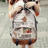 New Fashion Unisex Newspaper Design Print Canvas + Lint Backpack Schoolbag Shoulder Bag 12579