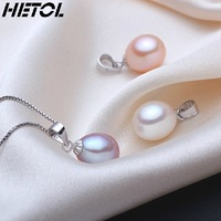 Free Shipping Authentic 925 sterling silver female natural 9 mm water pearl pendant necklace