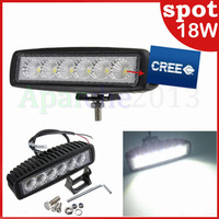 "18w Hot sales 2014 New 6"" 18W Cree LED Work Light BAR Spot Beam Driving Offroad 4x4 4WD Save ON 10W 15W Free shipping LED Bulbs"